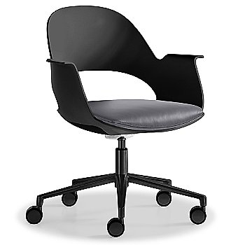 Black / Powder-coated Black with Essential Leather / Focus Shadow upholstered seat