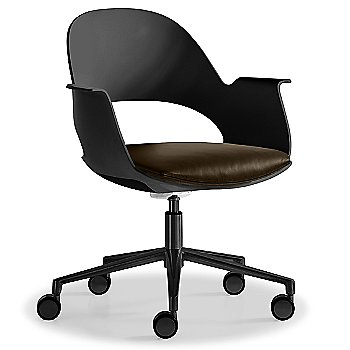 Black / Powder-coated Black with Essential Leather / Focus Espresso upholstered seat