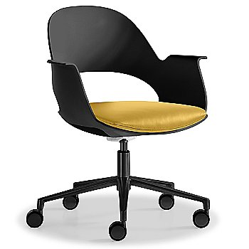 Black / Powder-coated Black with Essential Leather / Focus Citrus upholstered seat