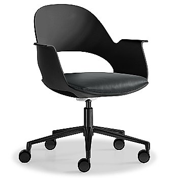 Black / Powder-coated Black with Essential Leather / Focus Charcol upholstered seat