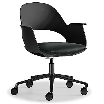 Black / Powder-coated Black with Essential Leather / Charcol upholstered seat
