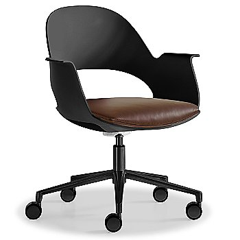 Black / Powder-coated Black with Essential Leather / Brownstone upholstered seat