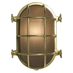 Oval Brass Bulkhead Outdoor Wall Light