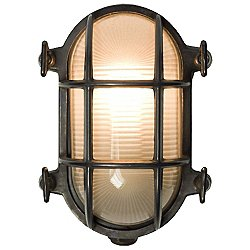 Oval Wathered Brass Bulkhead Outdoor Wall Light