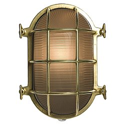 7035 Oval Brass Bulkhead Outdoor Wall Light