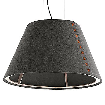 Aluminum / Not Powdercoated frame / BuzziFelt Eco Brown shade / Fluorescent Orange lace / Black cable