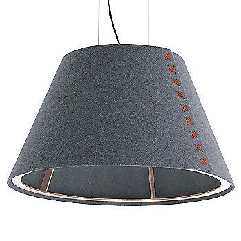 Aluminum / Not Powdercoated frame / BuzziFelt Stone Grey shade / Fluorescent Orange lace / Black cable