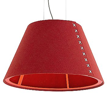Fluorescent Orange frame / BuzziFelt Red shade / White lace / Aluminum cable
