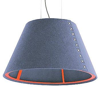 Fluorescent Orange frame / BuzziFelt Light Blue shade / White lace / Aluminum cable