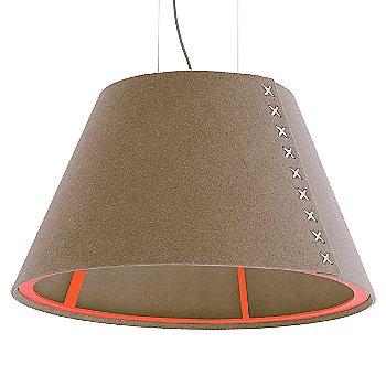 Fluorescent Orange frame / BuzziFelt Mokka shade / White lace / Aluminum cable