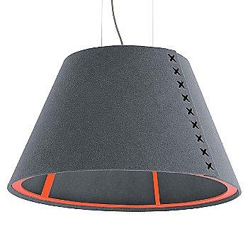 Fluorescent Orange frame / BuzziFelt Stone Grey shade / Black lace / Aluminum cable