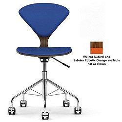 Cherner Seat and Back Upholstered Task Chair (Walnut: Natural/Sabrina Leather: Robotic Orange) - OPEN BOX RETURN