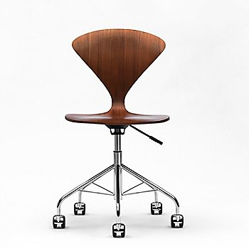 Natural Walnut Seat model, Chrome Swivel Base