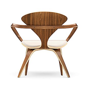 Cherner Lounge Chair with Arms / Upholstered / Natural Walnut / Rear View