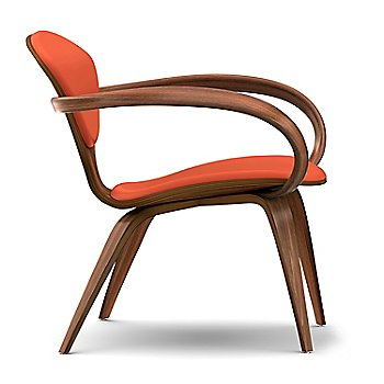 Cherner Lounge Chair with Arms / Upholstered / Classic Walnut / Side View