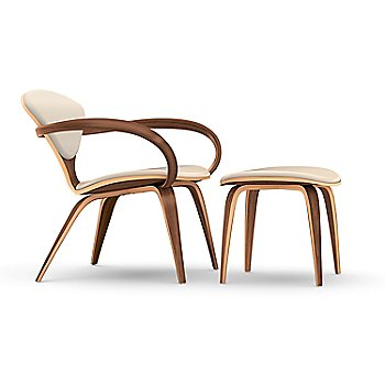 Cherner Lounge Chair with Arms / Upholstered / Natural Walnut with Ottoman