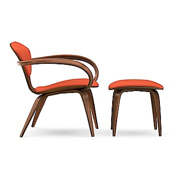 Cherner Lounge Chair with Arms / Upholstered / Classic Walnut with Ottoman