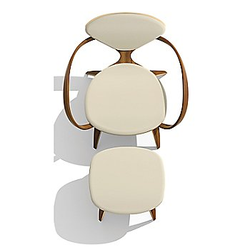 Cherner Lounge Chair with Arms / Upholstered / Natural Walnut with Ottoman / Top view
