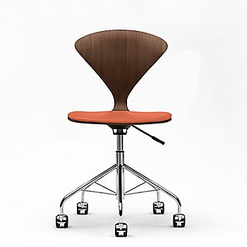 Classic Walnut finish, Sabrina Leather Robotic Orange Upholstery