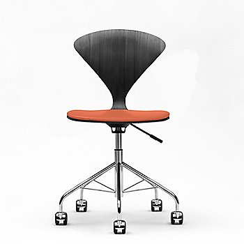 Classic Ebony/Ebonized Walnut finish, Sabrina Leather Robotic Orange Upholstery