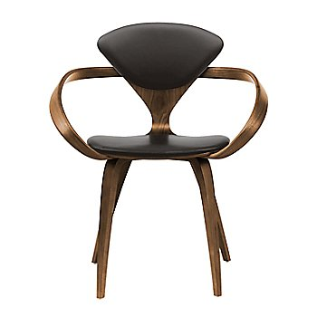 Natural Walnut Seat & Legs, Solid Walnut Arms / Vincenza Leather VZ-BLCK