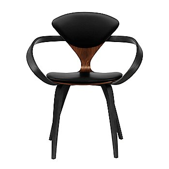 Classic Walnut Seat, Ebony Lacquer Arms & Legs / Sabrina Leather Black