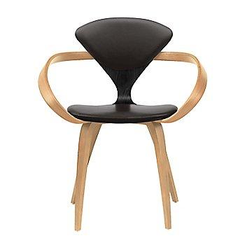 Ebony Lacquer Seat, Natural Beech Arms & Legs / Vincenza Leather VZ-BLCK