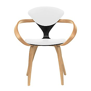 Ebony Lacquer Seat, Natural Beech Arms & Legs / Sabrina Leather White