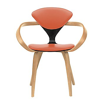 Ebony Lacquer Seat, Natural Beech Arms & Legs / Sabrina Leather Robotic Orange