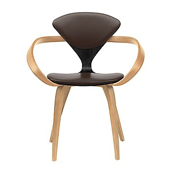Ebony Lacquer Seat, Natural Beech Arms & Legs / Sabrina Leather Coffee Bean