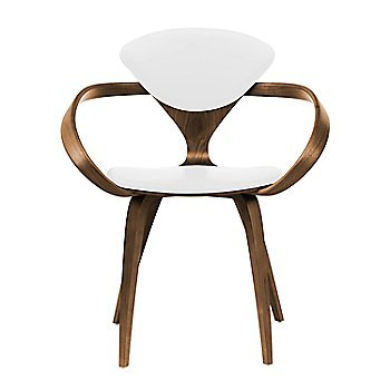 Natural Walnut Seat & Legs, Solid Walnut Arms / Sabrina Leather White