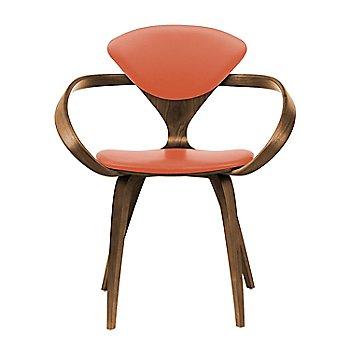 Natural Walnut Seat & Legs, Solid Walnut Arms / Sabrina Leather Robotic Orange