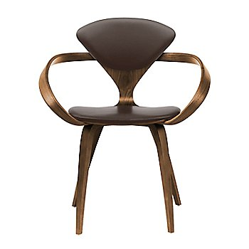 Natural Walnut Seat & Legs, Solid Walnut Arms / Sabrina Leather Coffee Bean