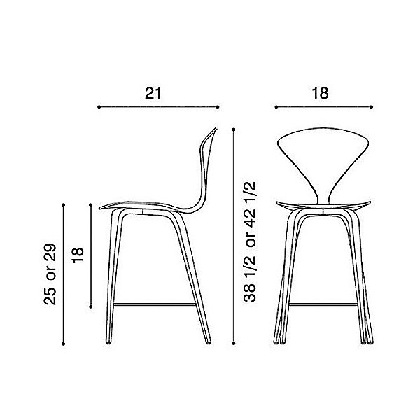 Cherner Seat and Back Upholstered Stool