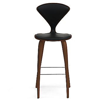 Natural Walnut Seat, Chrome Base finish / Upholstery Selection Sabrina Leather Black