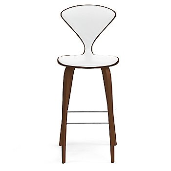 Natural Walnut Seat, Chrome Base finish / Upholstery Selection Sabrina Leather White