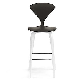 White Lacquer Seat, Chrome Base finish / Upholstery Selection Vincenza Leather VZ-BLCK