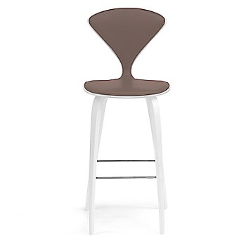 White Lacquer Seat, Chrome Base finish / Upholstery Selection Vincenza Leather VZ-2115