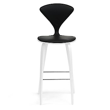 White Lacquer Seat, Chrome Base finish / Upholstery Selection Sabrina Leather Black