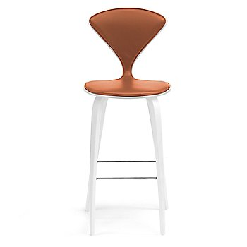 White Lacquer Seat, Chrome Base finish / Upholstery Selection Sabrina Leather Robotic Orange