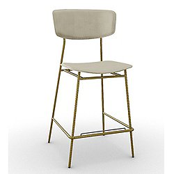 Fifties Counter stool (White Optic w/ Brass)-OPEN BOX RETURN