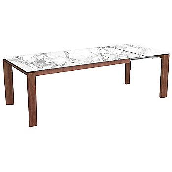 Walnut finish / White Marble Ceramic top finish / 86.6 in