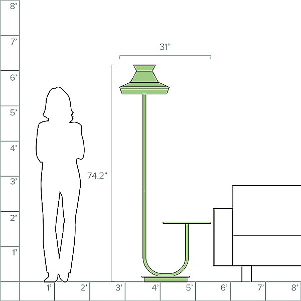 Calypso Guadaloupe Outdoor Floor Lamp with Table