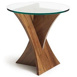 Planes Round Glass Top End Table