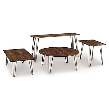 Essentials Bench with Essentials Round Coffee Table, Essentials Rectangle Coffee Table and Essentials Sofa Table