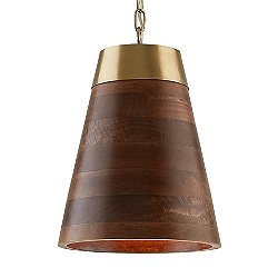 Wood and Brass Cone Pendant by Capital - OPEN BOX RETURN