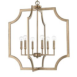 Soft Edge Metal 6 Light Pendant (Aged Brass)-OPEN BOX RETURN