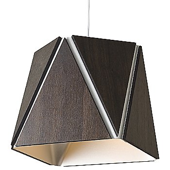 Shown in Dark Stained Walnut, Brushed Aluminum shade, Small