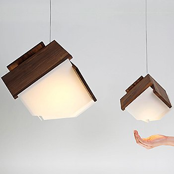 Shown lit in Dark Stained Walnut finish with Mica LED Accent Pendant