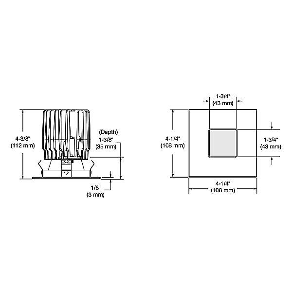 Urbai 3.5 Inch Square Shower Trim with Square Pinhole Aperture